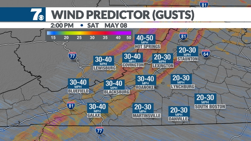 Blustery northwest winds keep temperatures cool tomorrow.