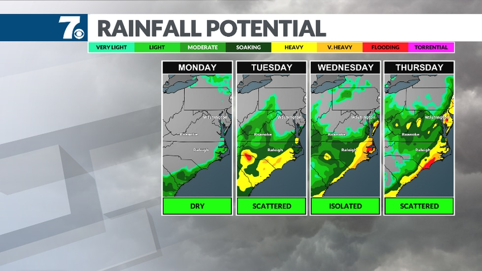 A front stalls nearby bringing more rain chances this week.