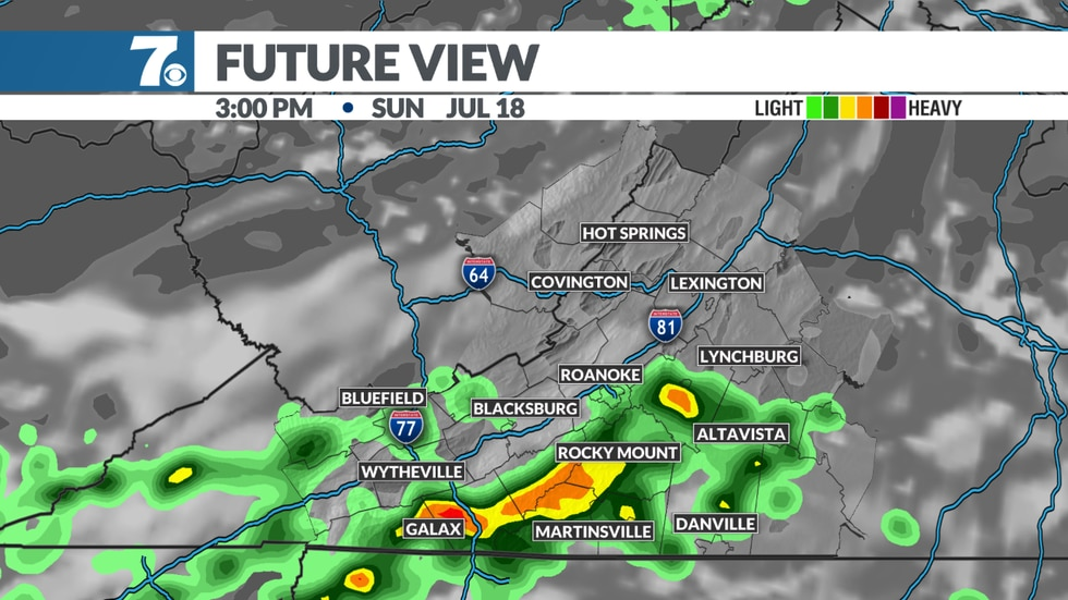 Storms possible on Sunday.