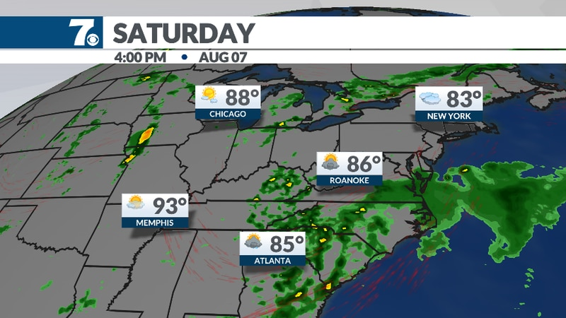 A southwesterly flow will bring showers back into the forecast by Saturday, especially during...