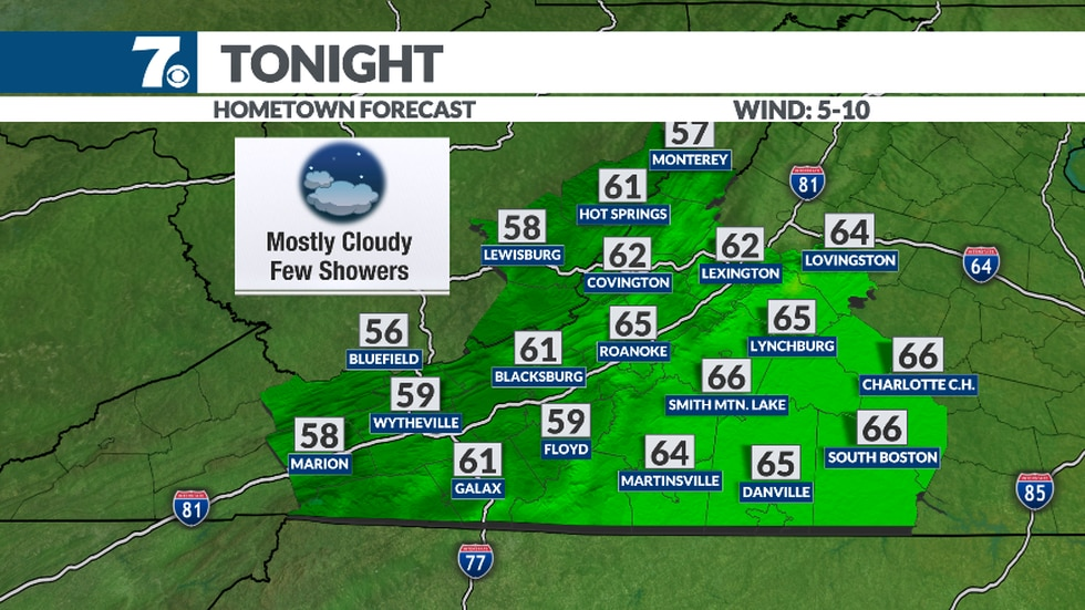Mild and muggy overnight.