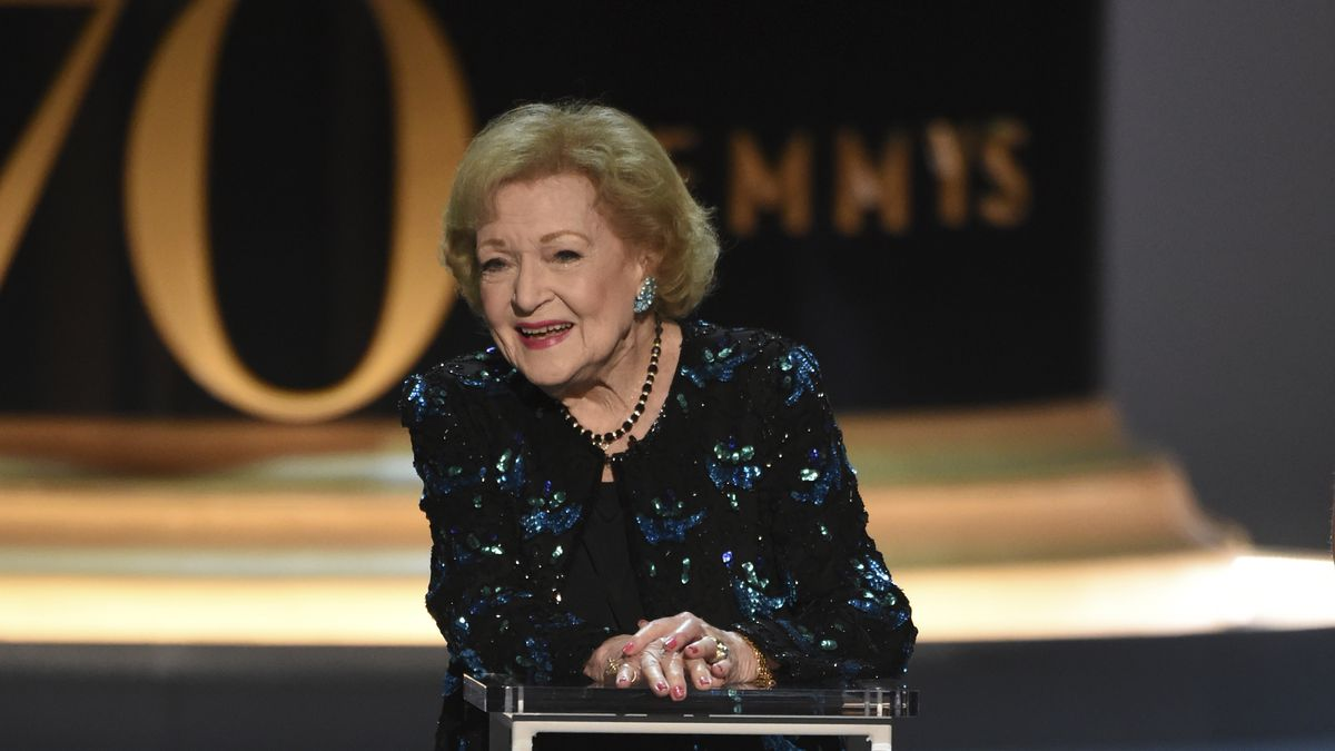 Betty White speaks on stage at the 70th Primetime Emmy Awards on Monday, Sept. 17, 2018, at the...