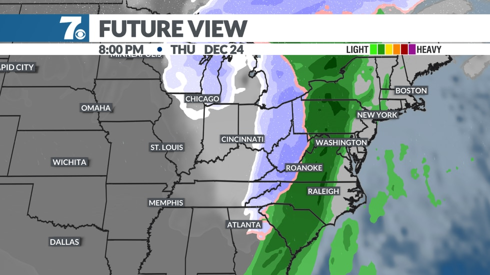 A cold front will approach the area Friday, Dec 24th bringing rain showers which may end as a...