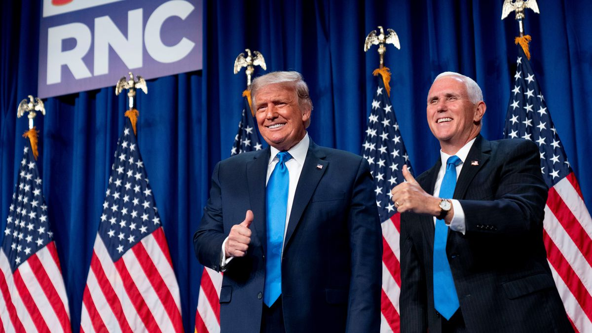 President Donald Trump and Vice President Mike Pence stand on stage during the first day of the 2020 Republican National Convention in Charlotte, N.C., Monday, Aug. 24, 2020.