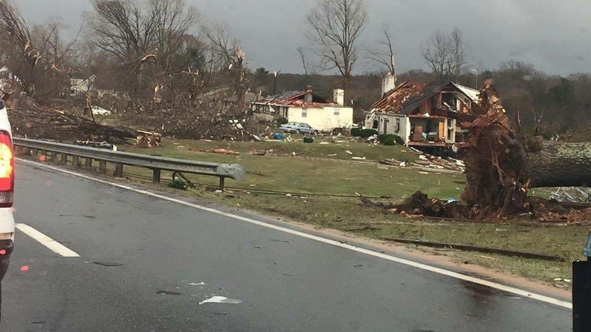 Tornado damage left behind during the Feburary 2016 tornado outbreak.