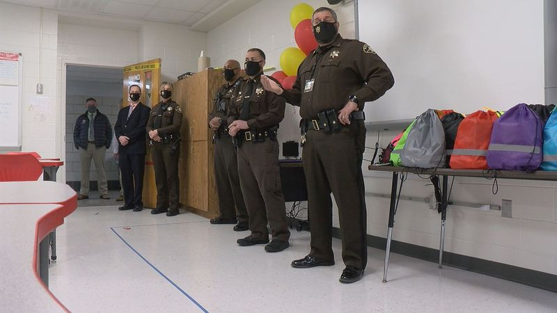 Franklin County High School students spoke with officers on Thursday and then handed them Bags...
