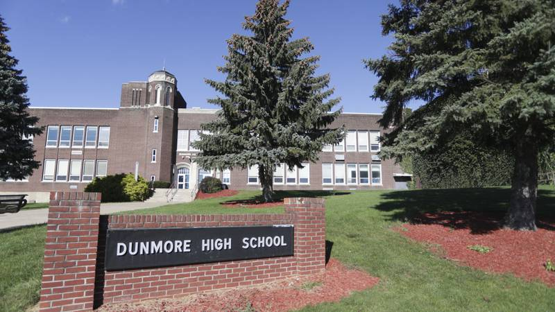 This Sept. 2021 photo shows Dunmore High School in Dunmore, Pa. Four teenagers have been...