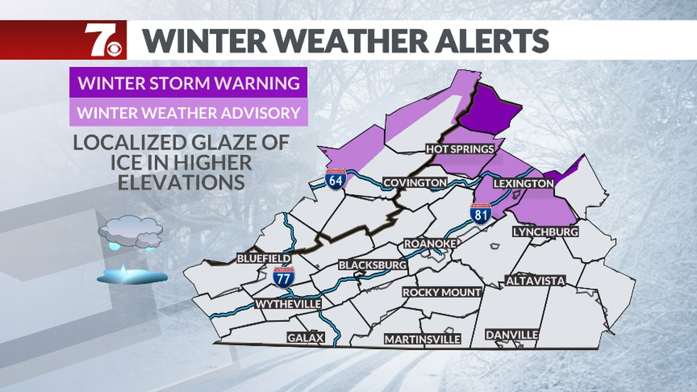 Winter Weather Advisories have been issued for a light glaze of ice that is possible along the...