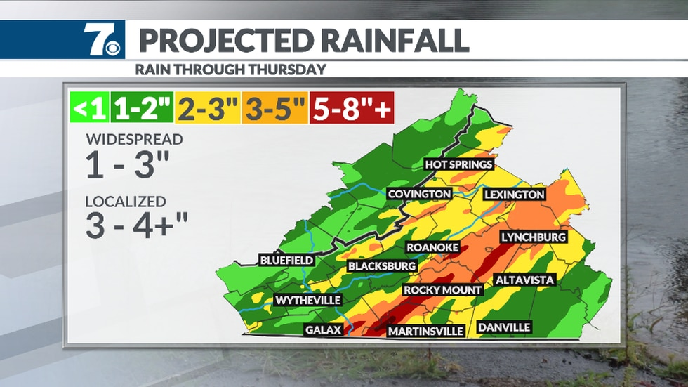 The heaviest rain is expected Wednesday into midday Thursday and may cause flooding.