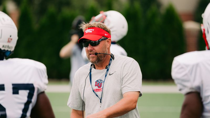 Liberty head football coach Hugh Freeze during a Flames practice on August 12, 2020.