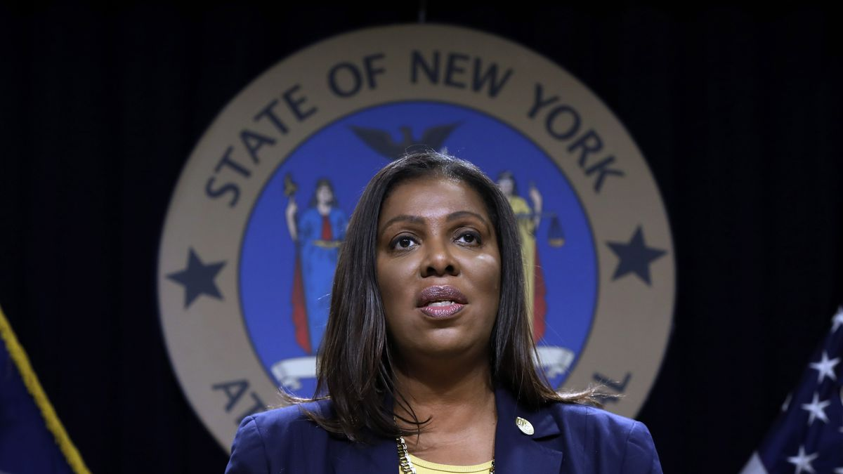FILE - In this Nov. 19, 2019 file photo, New York State Attorney General Letitia James speaks during a news conference at her office in New York.