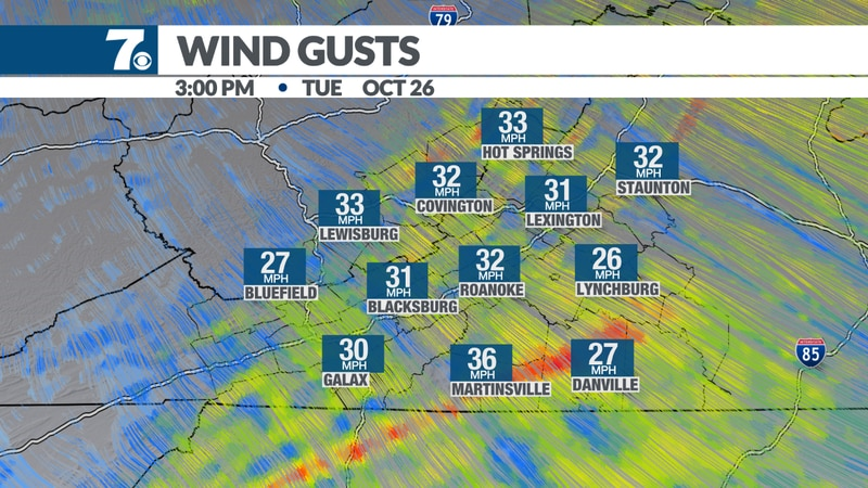 Gusts up to 40 mph possible.