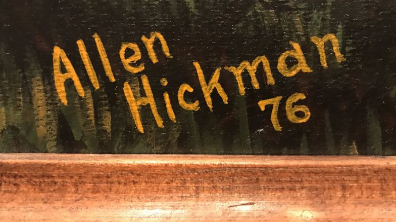 The signature of 102-year-old artist Allen Hickman on one of his paintings.