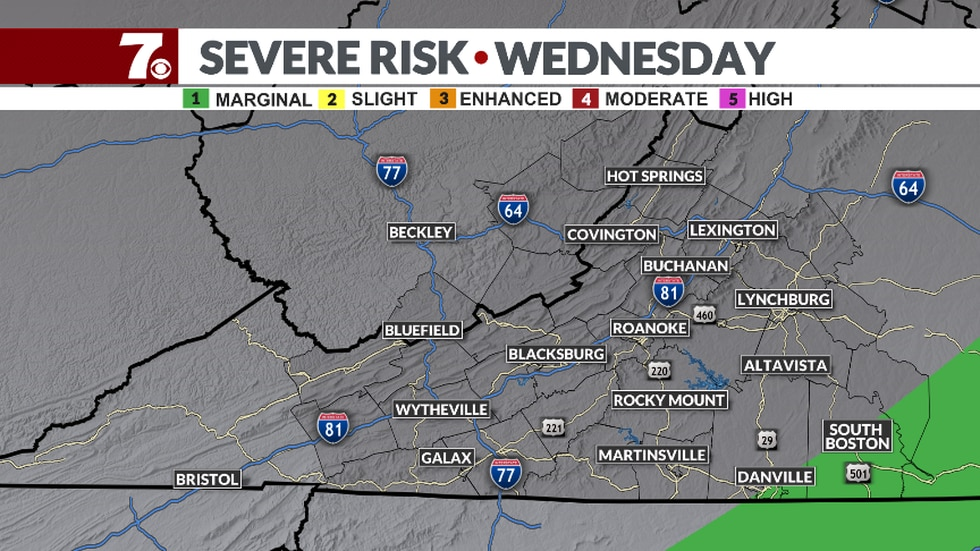 There will be a marginal risk of severe storms Wednesday in the southeastern part of our area.