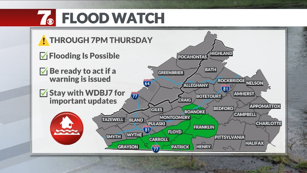 The National Weather Service has issued a Flood Watch for heavy rain and potential flooding...