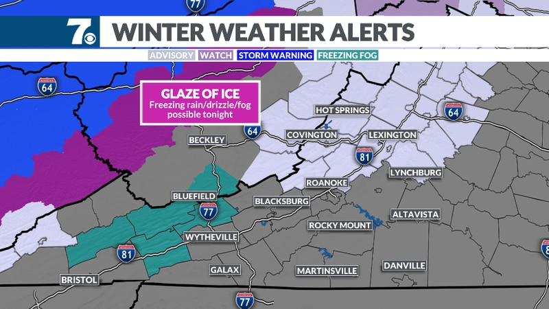 A glaze of ice from freezing rain and fog could occur tonight for higher elevations.