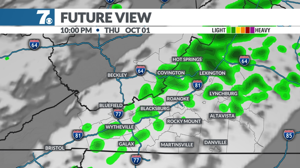 A stray shower is possible with a cold front late Thursday afternoon into Thursday night.