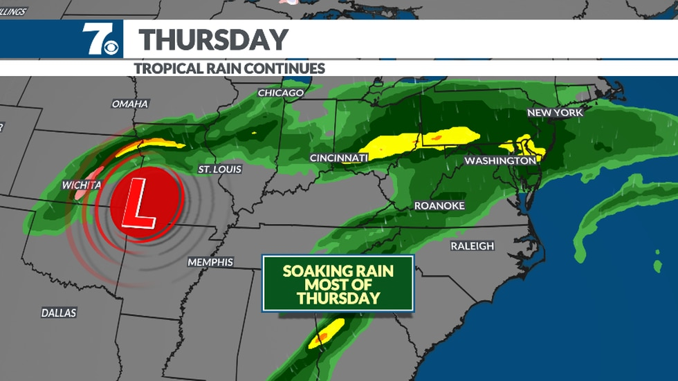 More tropical rain moves in Wednesday night and continues into Thursday.