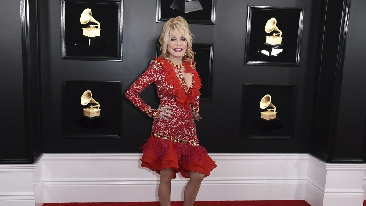 Dolly Parton arrives at the 61st annual Grammy Awards at the Staples Center on Sunday, Feb. 10,...