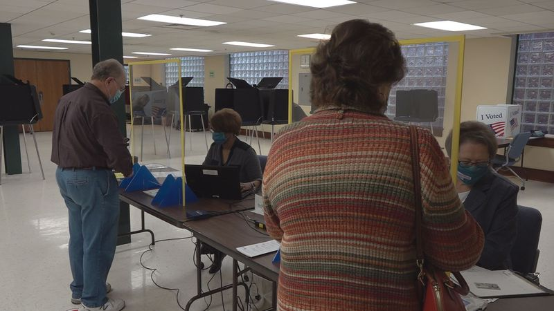 Voters cast their ballots at the Government Center in Montgomery County.