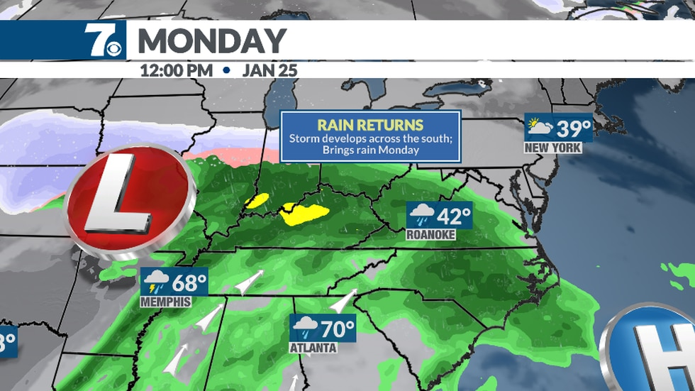 Wintry mix may mix in for higher elevations to the north.
