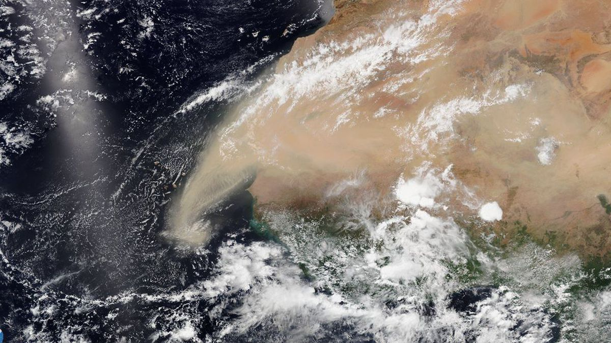 This June 7 satellite image shows dust from the Sahara Desert as it begins to move west toward...
