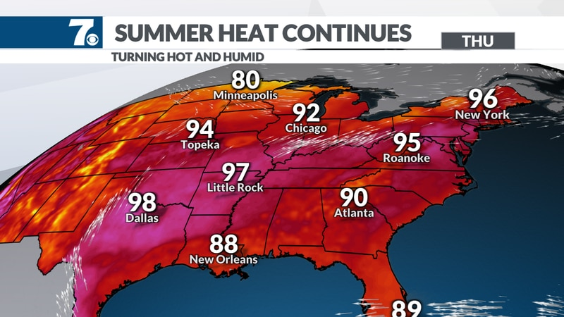 Highs will climb into the 90s in many areas.