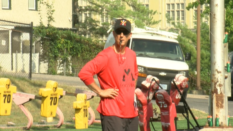 Coach Scott Wachenheim looks on at VMI practice