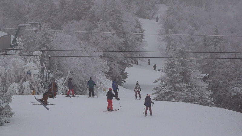 Skiers and snowboarders packed Snowshoe resort Monday, following this weekend's heavy snow.