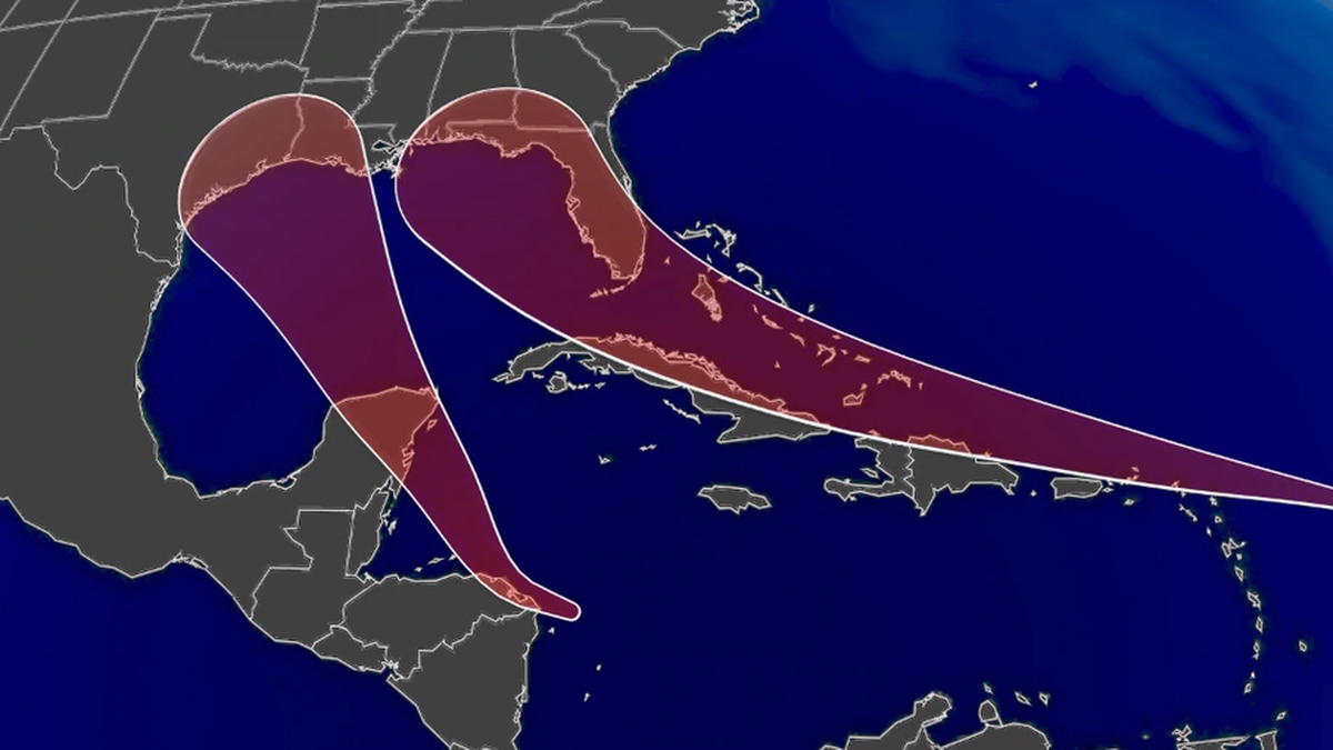 Hurricane forecasts bring these two into the Gulf of Mexico early next week.
