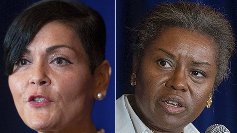 FILE - This photo combo shows from left, shows Virginia Democratic Lt. Governor candidate Hala...
