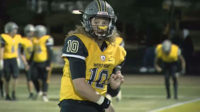 Northside quarterback Sidney Webb warms up before a Vikings football game in 2019.