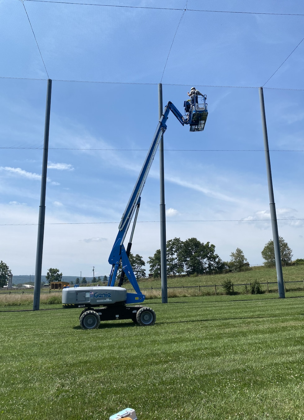It took several cherry pickers to remove the goose from the Virginia Tech Drone Park Cage.