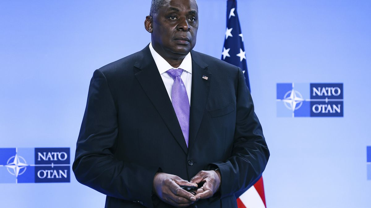 United State Secretary of Defense Lloyd Austin poses for photographers as he arrives at NATO...