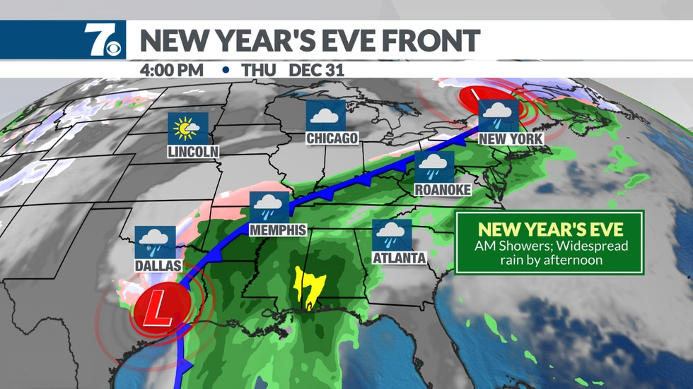 Rain is likely for New Year's Eve.