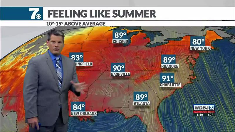 The heat will build by the weekend with 90s for some.