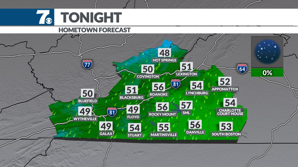 Lows fall into the 40s and 50s for the first time since June.