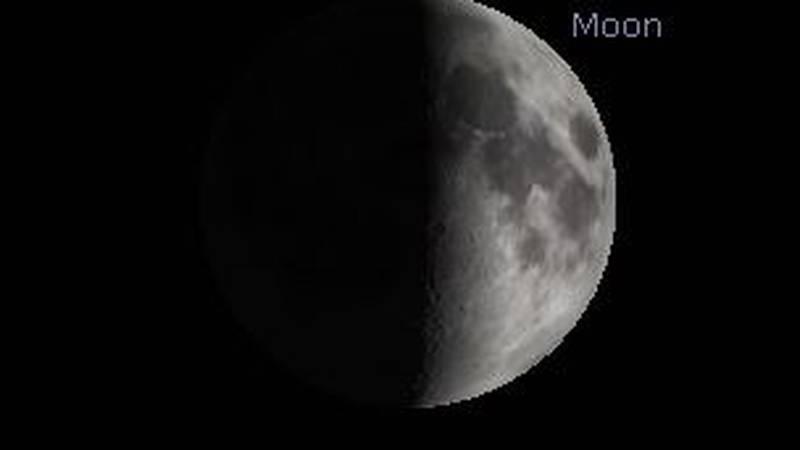 Saturday night, the moon will be half visible.