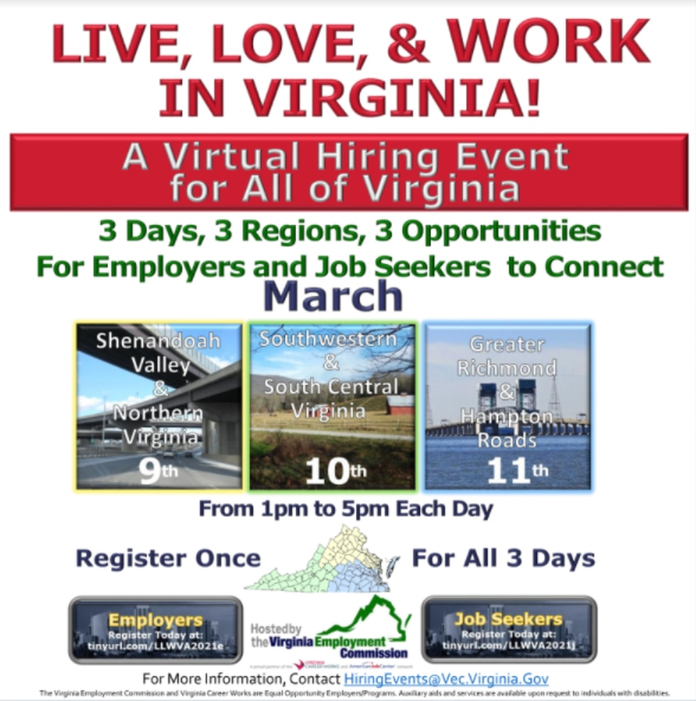 Virginia Employment Commission to host virtual statewide job fair.