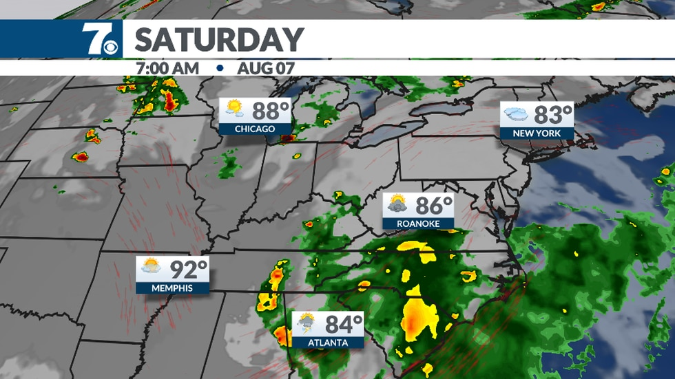 Southerly winds may help bring scattered showers into the area Saturday. Check back on timing...