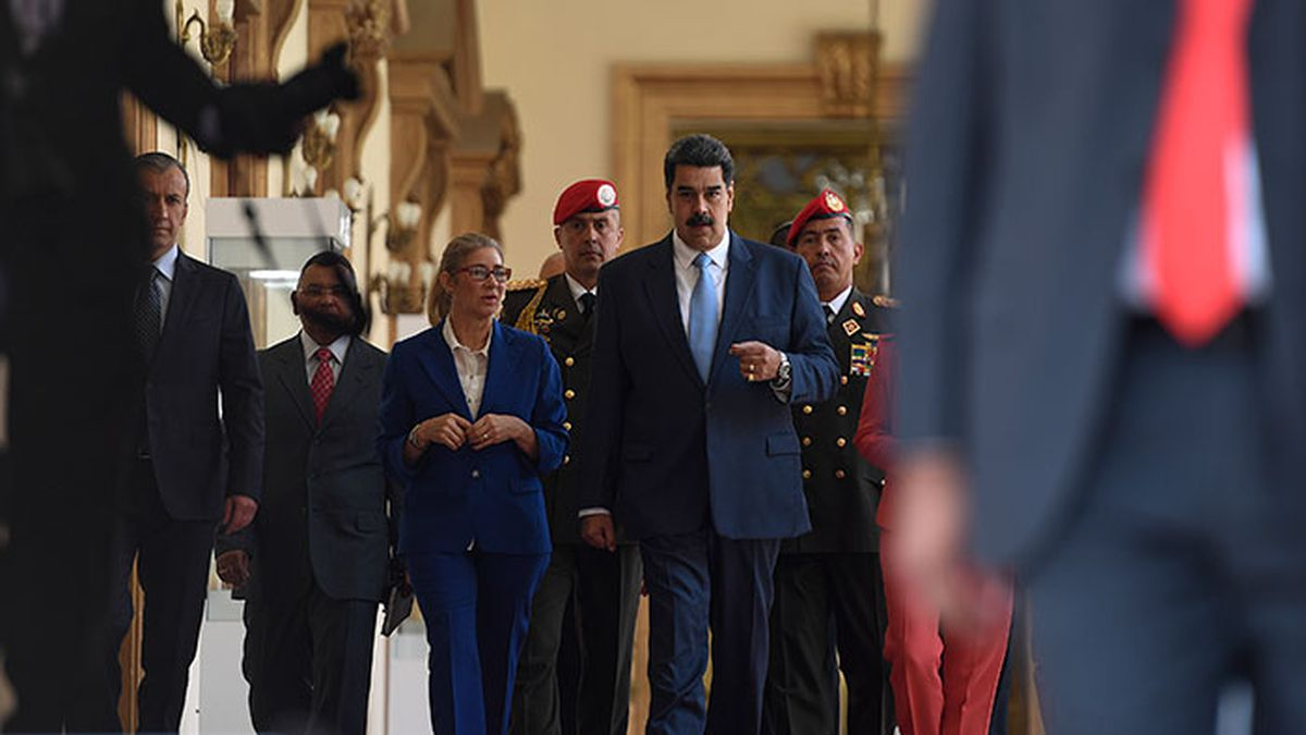 Venezuela's President Nicolas Maduro arrives for a press conference at the Miraflores...
