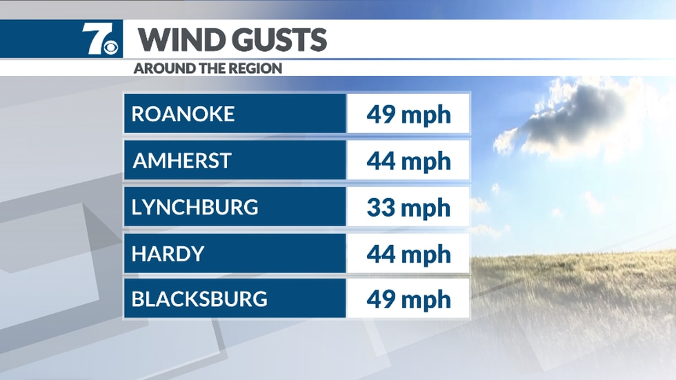 Here's a look at some of the top wind gusts for our region in the past 24 hours.