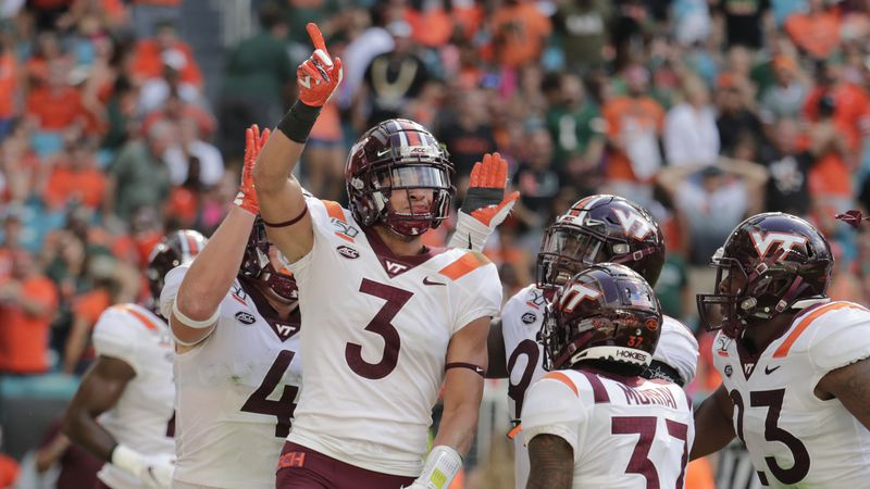 FILE - In this Oct. 5, 2019, file photo, Virginia Tech defensive back Caleb Farley (3)...