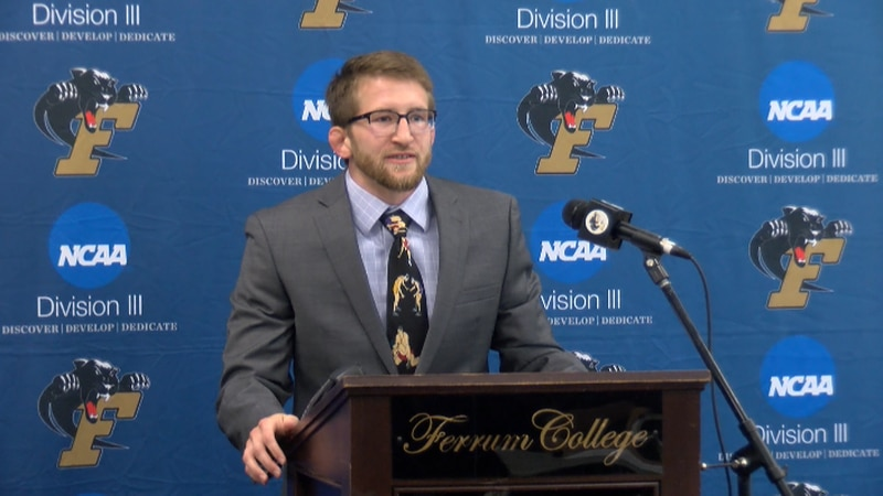 Logan Meister addresses the media during his introduction as Ferrum head wrestling coach on...