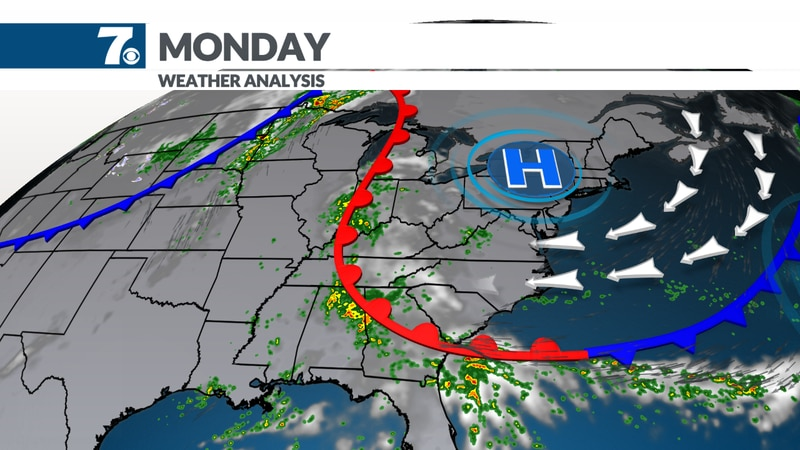 A wedge of cool air will develop leading to clouds and occasional showers.