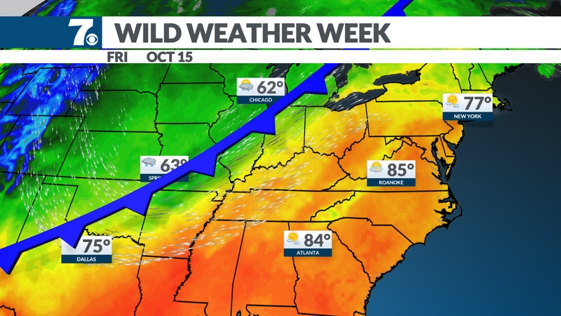Highs fall 20 degrees by Sunday.