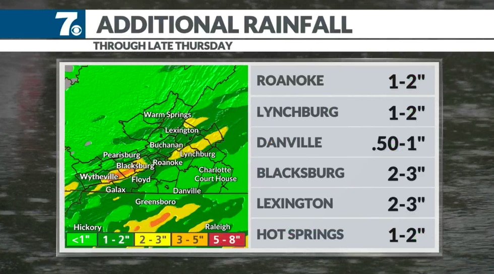 """Here's a look at additional rainfall through Thursday. 2-Day totals may top 3-5"""" in spots."""