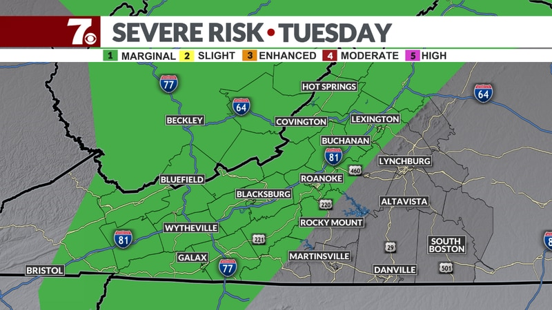 We have a Marginal Risk of severe storms in the western part of the region.