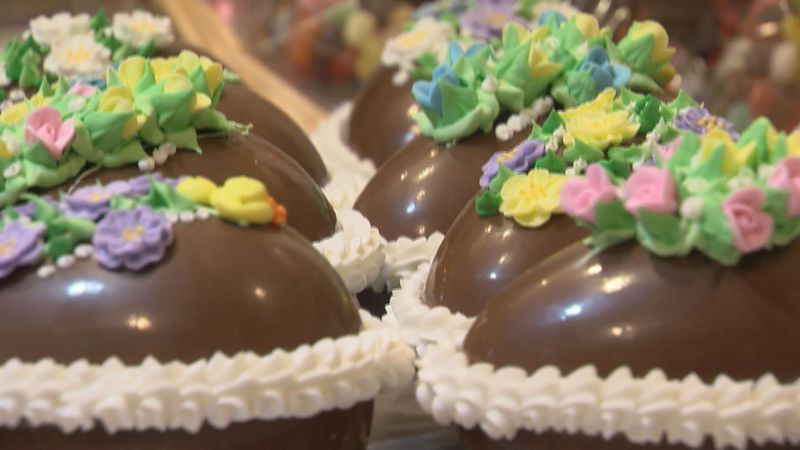 Chocolate Easter eggs await deliver in the Greenbrier resort's candy shop kitchen.