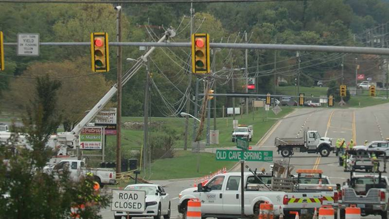Downed power pole at Colonial and Brambleton in Cave Spring